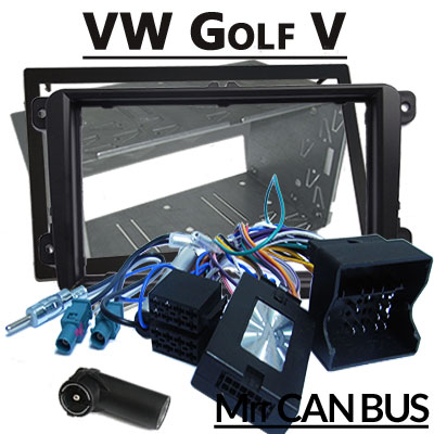 VW-Golf-V-Lenkradfernbedienung-mit-Autoradio-Einbauset-Doppel-DIN