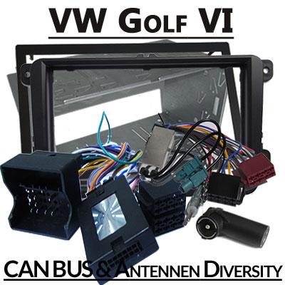 VW-Golf-VI-Lenkradfernbedienung-2-DIN-Einbauset-und-Antennen-Diversity