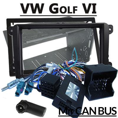 VW-Golf-VI-Lenkradfernbedienung-mit-Autoradio-Einbauset-Doppel-DIN
