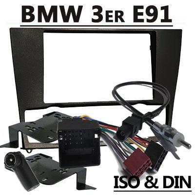 BMW-3er-E91-Touring-Autoradio-Einbauset-Doppel-DIN