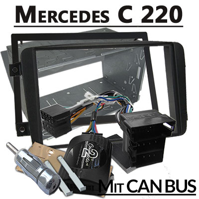 mercedes-c220-lenkradfernbedienung-mit-2-din-autoradio-einbauset