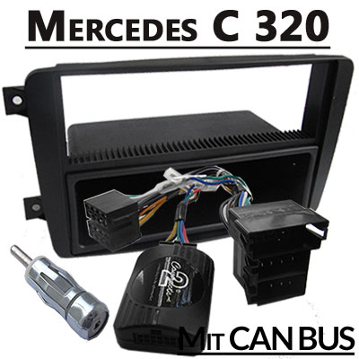 mercedes-c320-lenkradfernbedienung-mit-autoradio-einbauset-1-din
